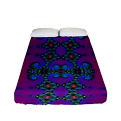 Purple Seamless Pattern Digital Computer Graphic Fractal Wallpaper Fitted Sheet (full/ Double Size)