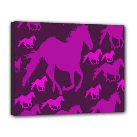 Pink Horses Horse Animals Pattern Colorful Colors Canvas 14  X 11