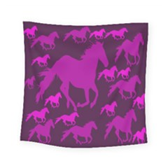 Pink Horses Horse Animals Pattern Colorful Colors Square Tapestry (small) by Simbadda