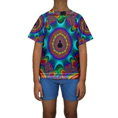 3d Glass Frame With Kaleidoscopic Color Fractal Imag Kids  Short Sleeve Swimwear