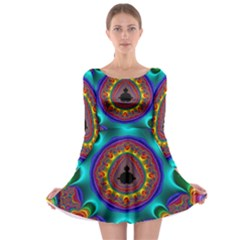 3d Glass Frame With Kaleidoscopic Color Fractal Imag Long Sleeve Skater Dress by Simbadda