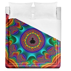 3d Glass Frame With Kaleidoscopic Color Fractal Imag Duvet Cover (queen Size) by Simbadda