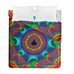 3d Glass Frame With Kaleidoscopic Color Fractal Imag Duvet Cover Double Side (full/ Double Size) by Simbadda