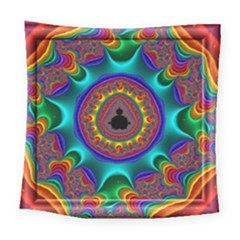 3d Glass Frame With Kaleidoscopic Color Fractal Imag Square Tapestry (large) by Simbadda