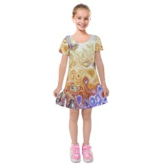 Space Abstraction Background Digital Computer Graphic Kids  Short Sleeve Velvet Dress