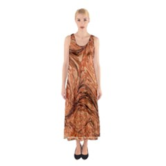 3d Glass Frame With Fractal Background Sleeveless Maxi Dress