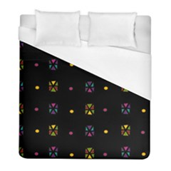 Abstract A Colorful Modern Illustration Black Background Duvet Cover (full/ Double Size) by Simbadda