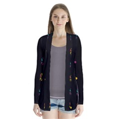 Abstract A Colorful Modern Illustration Black Background Cardigans by Simbadda