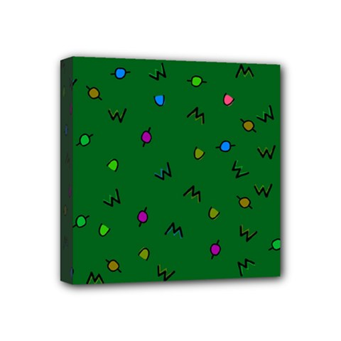 Green Abstract A Colorful Modern Illustration Mini Canvas 4  X 4