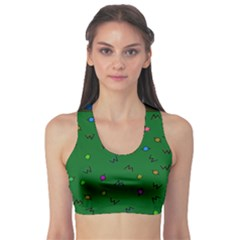 Green Abstract A Colorful Modern Illustration Sports Bra by Simbadda