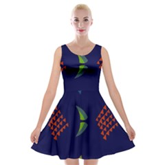 Abstract A Colorful Modern Illustration Velvet Skater Dress