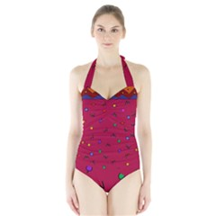 Red Abstract A Colorful Modern Illustration Halter Swimsuit by Simbadda