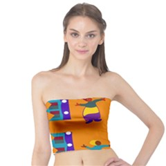 A Colorful Modern Illustration For Lovers Tube Top by Simbadda