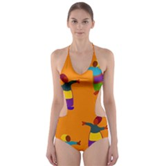A Colorful Modern Illustration For Lovers Cut Out One Piece Swimsuit by Simbadda
