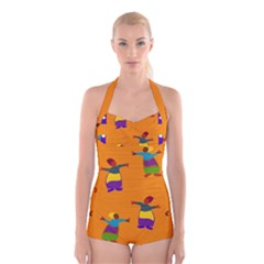A Colorful Modern Illustration For Lovers Boyleg Halter Swimsuit  by Simbadda