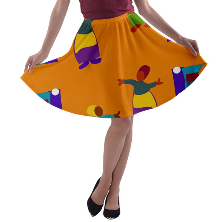 A Colorful Modern Illustration For Lovers A-line Skater Skirt