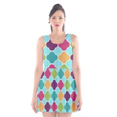 Colorful Quatrefoil Pattern Wallpaper Background Design Scoop Neck Skater Dress by Simbadda