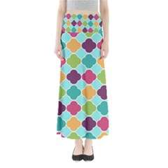 Colorful Quatrefoil Pattern Wallpaper Background Design Maxi Skirts