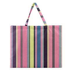 Seamless Colorful Stripes Pattern Background Wallpaper Zipper Large Tote Bag by Simbadda