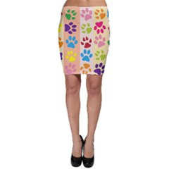 Colorful Animal Paw Prints Background Bodycon Skirt