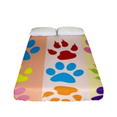 Colorful Animal Paw Prints Background Fitted Sheet (full/ Double Size) by Simbadda