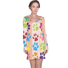 Colorful Animal Paw Prints Background Long Sleeve Nightdress