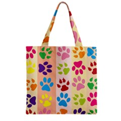 Colorful Animal Paw Prints Background Zipper Grocery Tote Bag by Simbadda