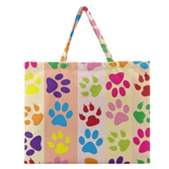 Colorful Animal Paw Prints Background Zipper Large Tote Bag