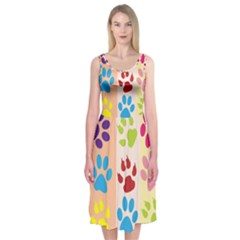 Colorful Animal Paw Prints Background Midi Sleeveless Dress