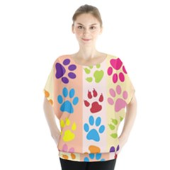 Colorful Animal Paw Prints Background Blouse