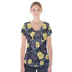 Wildflowers Ii Short Sleeve Front Detail Top