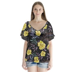 Wildflowers Ii Flutter Sleeve Top by tarastyle