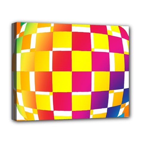 Squares Colored Background Deluxe Canvas 20  X 16   by Simbadda
