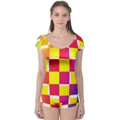 Squares Colored Background Boyleg Leotard