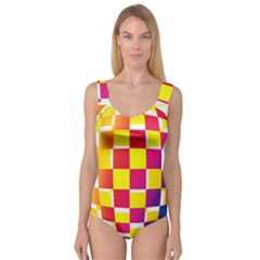 Squares Colored Background Princess Tank Leotard