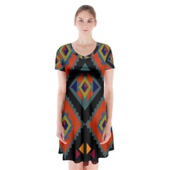Abstract A Colorful Modern Illustration Short Sleeve V Neck Flare Dress