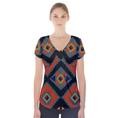 Abstract A Colorful Modern Illustration Short Sleeve Front Detail Top