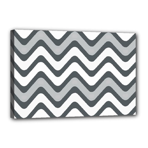 Shades Of Grey And White Wavy Lines Background Wallpaper Canvas 18  X 12  by Simbadda