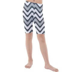 Shades Of Grey And White Wavy Lines Background Wallpaper Kids  Mid Length Swim Shorts by Simbadda