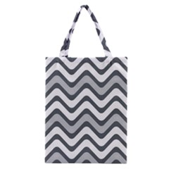 Shades Of Grey And White Wavy Lines Background Wallpaper Classic Tote Bag by Simbadda