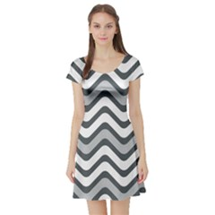 Shades Of Grey And White Wavy Lines Background Wallpaper Short Sleeve Skater Dress