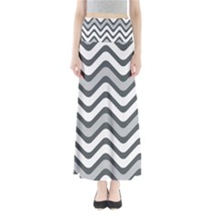 Shades Of Grey And White Wavy Lines Background Wallpaper Maxi Skirts