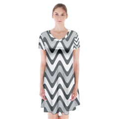 Shades Of Grey And White Wavy Lines Background Wallpaper Short Sleeve V Neck Flare Dress by Simbadda