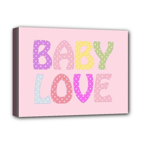 Pink Baby Love Text In Colorful Polka Dots Deluxe Canvas 16  X 12
