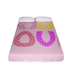 Pink Baby Love Text In Colorful Polka Dots Fitted Sheet (full/ Double Size) by Simbadda