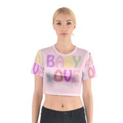 Pink Baby Love Text In Colorful Polka Dots Cotton Crop Top