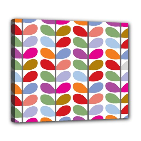 Colorful Bright Leaf Pattern Background Deluxe Canvas 24  X 20   by Simbadda