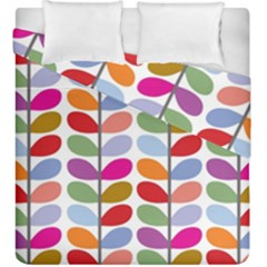 Colorful Bright Leaf Pattern Background Duvet Cover Double Side (king Size)