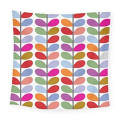 Colorful Bright Leaf Pattern Background Square Tapestry (large)