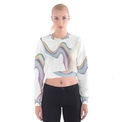 Abstract Ribbon Background Women s Cropped Sweatshirt